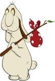 Lapin de dessin animé et sac à Bindle Images libres de droits