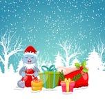 Lapin de Noël avec le fond actuel de boîte-cadeau, de Santa Bag, de Noël et de nouvelle année, horaire d'hiver illustration de vecteur