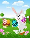 Lapin de Pâques avec des oeufs illustration stock