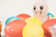 Lapin de Pâques avec des oeufs de pâques Images stock