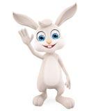 Lapin de Pâques avec dire salut la pose illustration stock