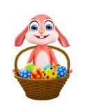 Lapin de Pâques avec le panier d'oeufs illustration stock