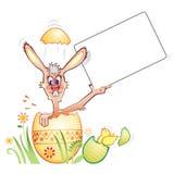 Lapin de Pâques avec un panneau Images libres de droits