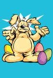 Lapin de Pâques chez le lapin de couleur avec les oeufs de pâques peints de chocolat Images stock