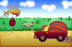 Lapin de Pâques conduisant une voiture portant des oeufs de pâques sur la route Image stock
