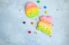 Lapin de Pâques décoré et camomille colorée de sucreries de biscuits d'oeufs Photos stock
