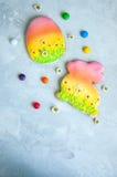 Lapin de Pâques décoré et camomille colorée de sucreries de biscuits d'oeufs Photos libres de droits