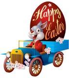 Lapin de Pâques dans l'automobile Photos stock