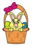Lapin de Pâques dans un panier Photo stock