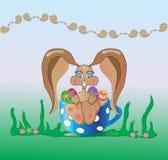 lapin de Pâques dans une cuvette Image stock