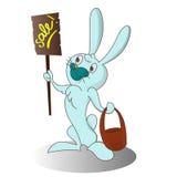 Lapin de Pâques de bande dessinée avec la bannière Images libres de droits