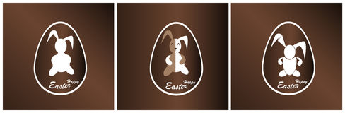 Lapin de Pâques de bannière dans un oeuf de chocolat Photos libres de droits