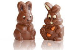 Lapin de Pâques de deux chocolats Images libres de droits