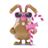 lapin de Pâques du chocolat 3d avec la sucrerie Image libre de droits
