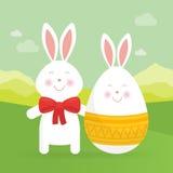 Lapin de Pâques et illustration mignons de vecteur d'oeufs Images stock