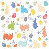Lapin de Pâques, fleurs et fond décoré d'oeufs illustration stock