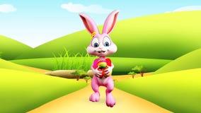 Lapin de Pâques marchant avec des oeufs clips vidéos