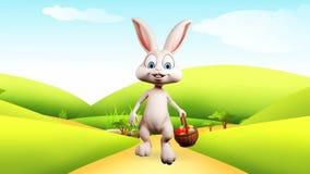 Lapin de Pâques marchant avec le panier coloré d'oeufs clips vidéos