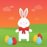 Lapin de Pâques mignon dans l'illustration de vecteur de nature Image stock