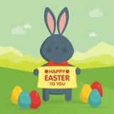 Lapin de Pâques mignon dans l'illustration de vecteur de nature Image libre de droits