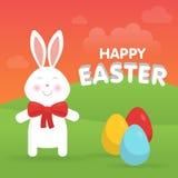Lapin de Pâques mignon dans l'illustration de vecteur de nature Photos libres de droits