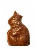Lapin de Pâques mordu de chocolat Photographie stock