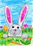 Lapin de Pâques sur le pré d'herbe verte avec des oeufs et des légumes, concept de vacances, printemps, dessin d'enfant sur le pa Images stock