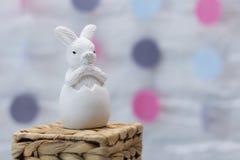 Lapin de Pâques sur le support en osier Copiez l'espace Objet pour la carte Images stock
