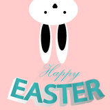 Lapin de Pâques drôle, bannière heureuse de Pâques, carte de célébration Photographie stock libre de droits