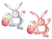 Lapin de Pâques rose et blanc avec le panier Photos stock