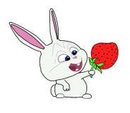Lapin drôle avec la fraise illustration libre de droits