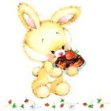 Lapin drôle d'aquarelle Toy Bunny fond pour l'enfant illustration stock