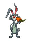 Lapin drôle de bande dessinée mangeant une carotte Image stock