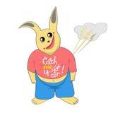 Lapin drôle, lapin de bande dessinée, autocollant, carte postale, pour le web design a Photos libres de droits