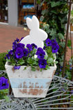 Lapin en fleurs violettes pour Pâques Image stock
