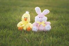 Lapin et ami de Pâques roses Photographie stock libre de droits