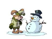 Lapin et bonhomme de neige Photos stock