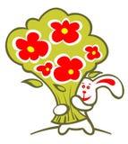 Lapin et fleurs gais Photographie stock libre de droits