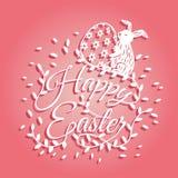 Lapin et fleurs pour la carte de voeux de jour de Pâques illustration libre de droits