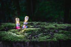 Lapin et oeufs de Pâques de chocolat cachés par un arbre photographie stock