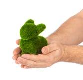 Lapin fait en herbe dans des mains Images libres de droits