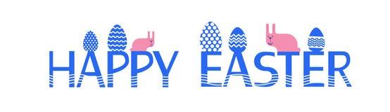 Lapin heureux Bunny Painted Eggs Holiday Banner de Pâques Photos libres de droits