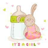 Lapin mignon de bébé - carte d'arrivée Images stock
