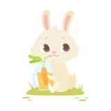 Lapin mignon de bébé se reposant sur une herbe verte illustration libre de droits