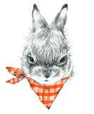 Lapin mignon Illustration de croquis de crayon de lapin Copie de T-shirt avec le lapin mignon Image libre de droits