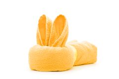 Lapin orange de serviette Photographie stock