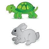 Lapin, tortue, vitesse, vecteur, illustration illustration stock