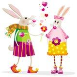 Lapins dans l'amour Image libre de droits