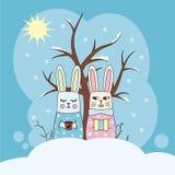 Lapins dans la neige Image stock