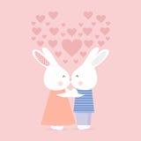 Lapins de baiser mignons, carte d'amour Photo libre de droits